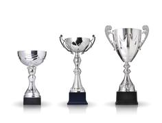 Three different kind of silver trophies. isolated on white background Stock Illustration