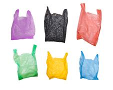 Collection of various plastic bags isolated on white background Stock Illustration