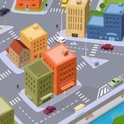 Cartoon city traffic Stock Illustration