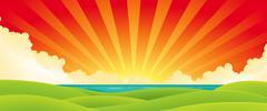 Sunset over water Stock Illustration