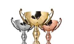 Stock Illustration of close up champion trophies. isolated on white background