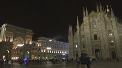 Duomo Square Facade cathedral church shopping gallery piazza night people enjoy  - stock footage