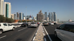 Traffic at the corniche road in Doha, Qatar Stock Footage