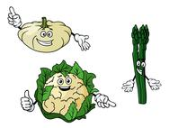 Stock Illustration of cauliflower, zucchini and spinach vegetables