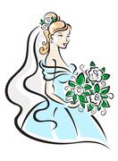 beautiful bride with flowers - stock illustration