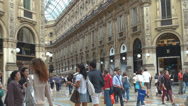 Stock Video Footage of Galleria Vittorio Emanuele II interior shopping mall glass arcade people passing