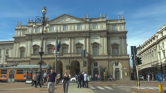 La Scala Theater opera house piazza della scala old tram facade street traffic  Stock Footage