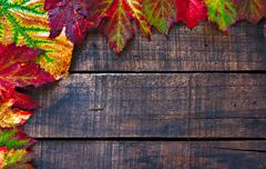 colorful wet autumn leaves arranged on old wooden table - stock photo
