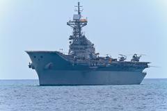 aircraft carrier principe de asturias - stock photo