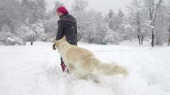 Slow-Mo: White Swiss Shepherd Dog Getting A Treat Stock Footage