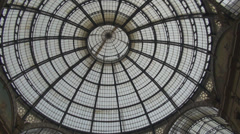 Milano 136Tilt down Galleria Vittorio Emanuele II shopping gallery cupola roof  Stock Footage