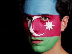 flag of azerbaijan - stock photo