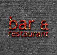 bar and restaurant sign - stock illustration