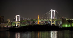 4K time lapse of the Rainbow bridge in Odaiba and Tokyo Tower behind it Stock Footage