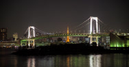 Stock Video Footage of 4K time lapse of the Rainbow bridge in Odaiba and Tokyo Tower behind it