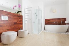 spacious bright bathroom - stock photo