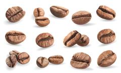 Collection of coffee beans isolated on white background Stock Illustration