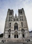 cathedral in brussels, belgium - stock photo