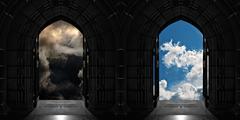 Doorways to heaven or hell Stock Photos