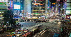 4K time lapse of the busy Shibuya crossing in Tokyo Stock Footage