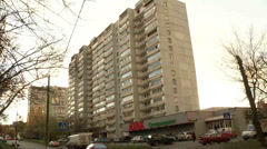 The leased building supermarkets in Moscow Stock Footage