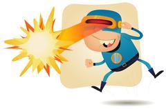 laser beam head - comic superhero - stock illustration