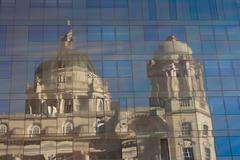 Stock Photo of port of liverpool building reflected