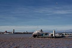 ferry across the mersey - stock photo