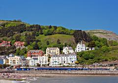 hotels and guesthouseson great orme, llandudno, wales, uk - stock photo