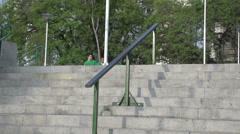 087 Sao Paulo, skateboarding in park, slowmotion Stock Footage