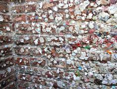 chewing gum wall of love on the wall of the house of romeo and juliet - stock photo