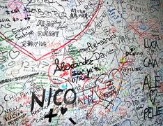 Messages of love on the wall of the house of romeo and juliet in verona in it Stock Photos
