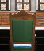 Looking into courtroom from behind judges chair Stock Photos