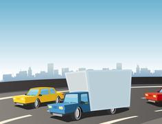 cartoon truck on highway - stock illustration