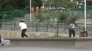 Stock Video Footage of 091 Sao Paulo, skateboarding in park, slowmotion