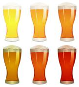 lager, amber and stout beers set - stock illustration