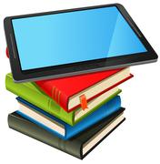 Book stack and blue screen tablet pc Stock Illustration