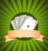 casino poker aces banner - stock illustration