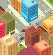 cartoon city - downtown - stock illustration