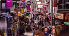 4K time lapse of people shopping on Takeshita street in Harajuku, Tokyo Stock Footage