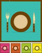 grunge restaurant banner set - stock illustration
