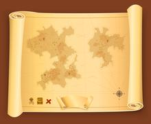 Treasure map on parchment scroll Stock Illustration