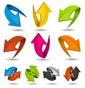 Colorful motion arrows set Stock Illustration