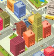 Cartoon city aerial view Piirros