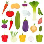 vegetables icons set - stock illustration