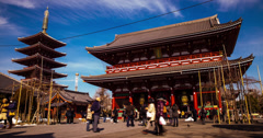 4K time lapse of Senso-Ji and the Asakusa Shrine in Tokyo Stock Footage