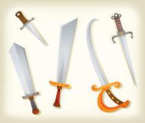 vintage swords, knifes, broadsword and saber set - stock illustration