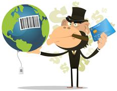 selling and buying earth - stock illustration