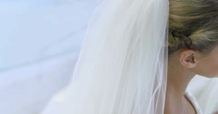 Beautiful bride smiling up at camera Stock Footage