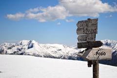 mountain signposts - stock photo